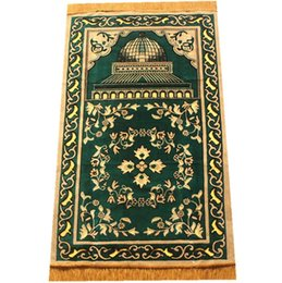 Discount religious fabric - Ramadan and Eid Decorations Rug Islamic Religious Worship Blanket red blue green blanket 70*110cm New Muslim Pocket Size