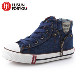 $enCountryForm.capitalKeyWord Australia - 13 Kinds New Arrived Size 25-37 Children Kids Canvas Sneakers Boys Jeans Flats Girls Boots Denim Side Zipper Shoes MX190726 MX190727