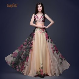 $enCountryForm.capitalKeyWord Australia - Long Evening Dress 2018 Floral Print Chiffon Evening Gowns A Line Long Formal Party Gowns Y19042701