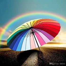 umbrellas for adults NZ - Rainbow Umbrella For Women And Men Long Handle 24K Straight Windproof Colorful Pongee Umbrella Adult Children Sunny Rainy Umbrella XD19891