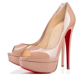01f339336 Nude Color Dress Sandals UK - Nude Color Fish Mouth 13cm Red Bottom High  Heels ,