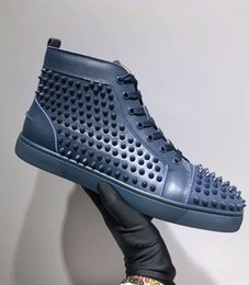 $enCountryForm.capitalKeyWord Australia - Top Quality Brand High Top Spikes With Paint Leather Shoes ,Red Bottom Sneakers ,For Men and Women Party Leisure Flats Outdoor Casual Shoes