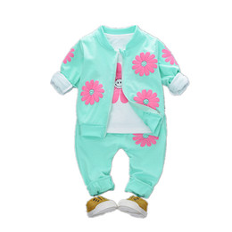 Smile Clothes Australia - 2019 Spring Autumn Children Girls Fashion Clothes Baby Smile Face Jacket T-shirt Pants 3Pcs sets Cool Infant Outfits For 1-4 Yrs