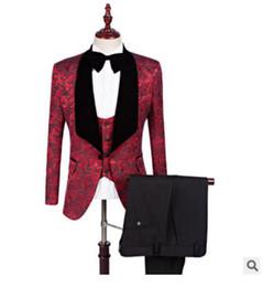 Men S Long Wedding Suit Australia - New Red White Black Groom Tuxedos Groomsmen Slim Fit Best Man Suit Wedding Men's Blazer Suits Custom Made (Jacket+Pants+Vest) size S-5XL
