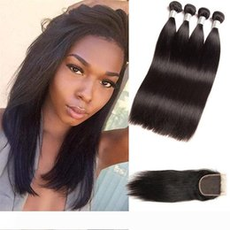 raw virgin hair bundles lace closure UK - Indian Raw Virgin Hair Extensions 8-28inch Straight Human Hair Products Natural Color Black 4 Bundles With 4X4 Lace Closure With Baby Hair