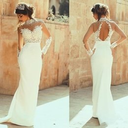 See Through Wedding Dress Crystal Beading UK - 2019 Sexy Keyhole Mermaid Wedding Dresses Sheer Long Sleeves High Neck Illusion Lace Applique Beaded Pearls See Through Formal Bridal Gowns