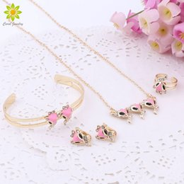 $enCountryForm.capitalKeyWord Australia - Gold Color Fashion Lovely Pink Fox Pendant Necklace Earrings Bracelet Ring Children Birthday Party Baby Gift Kid Jewelry Set