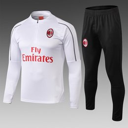 $enCountryForm.capitalKeyWord Australia - AC milan top white long-sleeved training set 18 19, white Black striped sleeves, trousers double zipper s-xl, logo