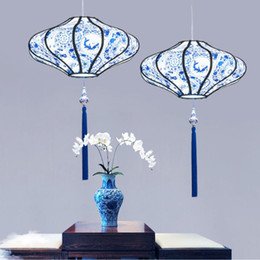 $enCountryForm.capitalKeyWord Australia - New Chinese chandelier lighting antique blue and white porcelain sheepskin fabric hot pot restaurant tea house tea room Chinese style