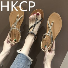 $enCountryForm.capitalKeyWord NZ - HKCP Sandals women summer 2019 women's shoes water drill flat sandals beach wear new clip-on student Roman style C045