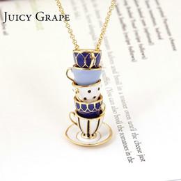 Jewelry Enamel Painting Australia - Juicy Grape Hand Painted Enamel Necklace Jewelry Teacup Pendant Long Chain Choker Necklace Bijoux Femme Bijuteria Women Y19061703