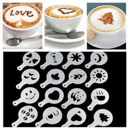 lids cake Canada - 50set Coffee latte mould fancy lid latte cappuccino mould design milk tea printing spray cake baking