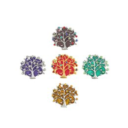 mix sale 18mm snap button Canada - New Hot Sale Flower life Tree Shape Colorful Snap Button mix Colors 18mm Copper Material Flower Interchangeable Jewelry