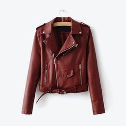 Womens motorcycle faux leather jacket online shopping - Pink Biker Faux PU Leather Womens Short Jacket Long Sleeve Motorcycle Multy Zipper Jackets Ladies Winter Autumn Female Coat