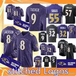 Baltimore Mens Ravens 8 Lamar Jackson 9 Justin Tucker Jersey 55 Terrell  Suggs 57 C.J. Mosley 5 Flacco 32 Weddle Football Jerseys 6672c3afc
