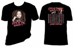 Janet Jackson Estado do Mundo 2017 Concerto T Shirt 2018 Moda de Manga Curta T-Shirt Preta de Meia Idade top tee venda por atacado