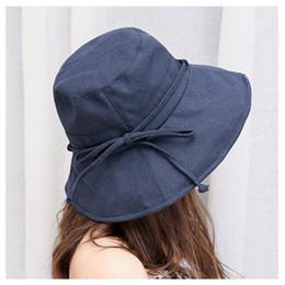 $enCountryForm.capitalKeyWord Australia - Bucket Hat Women Solid Color Cotton Fisherman Hat Cap Summer Sun Foldable Big Wide Brim Casual Bucket Hats Female Black
