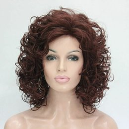 Auburn medium length wigs online shopping - New Fashion cm Length Reddish Auburn Curly Synthetic Hair Women s Full Wig