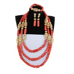 Chinese  Luxury Nigerian Wedding Necklace Set Real Slender Coral Bead Jewelry Set for Women Bride African Golden Beads Jewelr NCL715 manufacturers