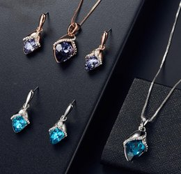 $enCountryForm.capitalKeyWord Australia - Europe and the United States Explosion Set Jewelry Drops Rose Gold Flower Crystal Necklace Earrings Jewelry Set