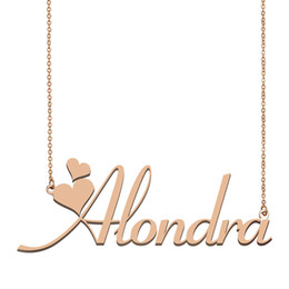 gold pendants children NZ - Alondra Name Necklace Pendant for Women Girlfriend Gifts Custom Nameplate Children Best Friends Jewelry 18k Gold Plated Stainless Steel