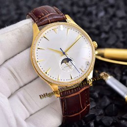 $enCountryForm.capitalKeyWord Australia - New 42mm Master Ultra Thin 1368420 1362501 Yellow Gold Diamond Case Silver Dial Moon Phase Automatic Mens Watch Leather Strap Sports Watches