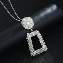 hot bijoux Australia - Ufavoirte Hot Square Big Pendant Necklace Gold Silver Colors Bijoux Collier Elegant Women Jewelry Gifts Drop shipping