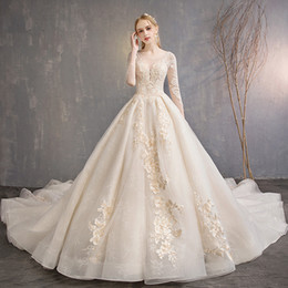 Long taiL t shirts online shopping - New Arribal Jewel Neck Long Sleeve Wedding Dress Lace Applique Wedding Gown Bridal with Long Tail Chic Lace Up Bride Wedding Dress