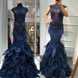Lace Mermaid Dress Diamonds Australia - Dubai Luxury Navy blue Diamond Beading Evening Dresses 2019 Feathers Mermaid Sleeveless Sexy Prom Evening Gowns robe de soiree Abendkleid