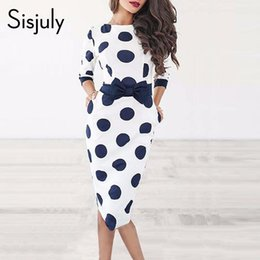 blue shorts white dots NZ - Sisjuly Bodycon Women Polka Dot Vintage Dress Sheath Long Sleeve Bowknot Retro Office White Short Party Dresses Summer 2019 T190410
