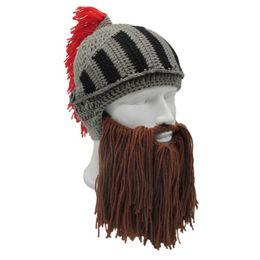 $enCountryForm.capitalKeyWord Australia - Hot! outdoor Windproof cap Red Tassel Cosplay Roman Knight Knit Helmet Men Caps Original Handmade Winter Warm Beard Hats