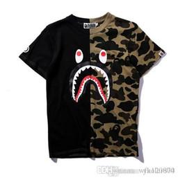 $enCountryForm.capitalKeyWord Australia - Tide brand APE shark head stitching camouflage T-shirt summer classic two-color dark green purple blue round neck men and women