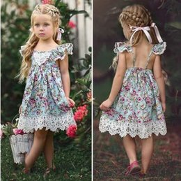tutus boutique NZ - Baby Girl Dresses Kids Lace Floral Flowers Dress Tutu A-line Party Dress Suspender Boutique Dress Summer Princess Beach Dresses CZYQ5541