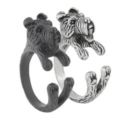 $enCountryForm.capitalKeyWord Australia - Vintage Antique Silver Black Gothic Airedale Terrier & Schnauzer Dog Ring Anel Boho Chic Animal Rings For Women Men Fashion Jewellery