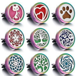 Discount car life - New Car Perfume Diffuser Aromatherapy Jewelry Vent Freshener Car Tree of Life Colorful Stainless Steel Locket Perfume Je