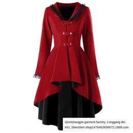 Wholesale women tuxedo slim resale online - 2020 New irregular dovetail coat lace stitching tuxedo Windbreaker tuxedo back strap windbreaker for women