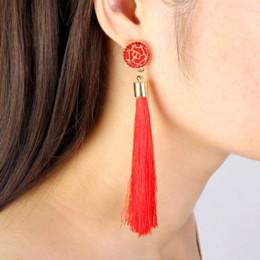 Fringe Gifts Australia - Black Crystal Flower Fringe Earings Earing Geometric Long Dangle Tassel Earrings For Women 2018 Fashion Jewelry Oorbellen Gift