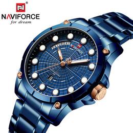 Stainless Watch Army Australia - NAVIFORCE Men Sports Watches Men's Quartz Clock Man Stainless Steel Army Wrist Watch Relogio Masculino 2019