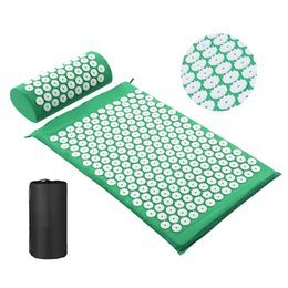 spike mat UK - Acupressure Mat Head Neck Back Pain Relief Foot Massage Cushion Pillow Yoga Spike Mat Acupuncture pad Needle Massager
