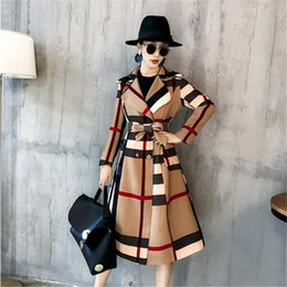 Wholesale women autumn winter trench coat outerwear for sale - Group buy 2019 Autumn Winter New Style Retro Female Trench Coat Long Overcoat Bow Trend Plus Size Fashion Khaki Clothes Women Outerwear