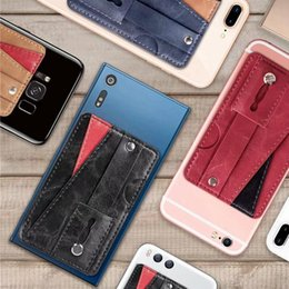 wholesale card ring Australia - 10pcs Universal Multifunction PU Leather Wallet Back Sticker Cover With Card Slots Finger Ring Sticker for Cell Phone Case 3M Glue