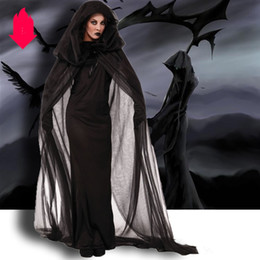 Robe gothic online shopping - Halloween Costume Luxury Womens Suits with Cloak Dresses Gloves Designer Halloween Dresses for Women Horror God of Death Robes Size S XL
