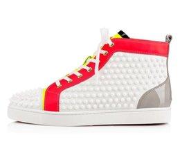 Sapatilha de Fundo vermelho Luxo Sapatos de Casamento Do Partido Genuíno Couro Louisfalt Spikes Lace-up Sapatos Casuais Preto Branco Sapatos venda por atacado
