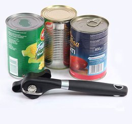 Wholesale Cans Lids Australia - 1pc Plastic Professional Kitchen Tool Safety Hand-actuated Can Opener Side Cut Easy Grip Manual Opener Knife for Cans Lid