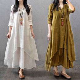 $enCountryForm.capitalKeyWord Australia - Cotton Linen Dresses Summer Vintage False Two-piece Women 4xl 5xl Plus Size Dresses Boho Loose Long Sleeve Irregular Maxi Dress Y19051001