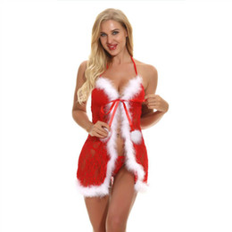 Sexy Babydoll Costume UK - Women Christmas Costumes Sexy Lingerie Sexy Underwear Babydoll Deep V Neck Open Sexy Front Babydoll Lingerie Set With G-string