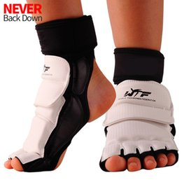 Protector kick boxing online shopping - High Quality Taekwondo Foot Protector KTA For Offical Competition Fighting Feet Guard Kick Boxing foot guard instep Protector