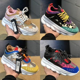 Designer chains women online shopping - 2019 Luxury Chain Reaction Men Women Casual shoes Top quality Black White Mesh Rubber Leather Flat Shoes Designer Sneakers Boots