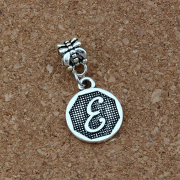 """Disc Bracelet Australia - Antique silver Letter """"E"""" Disc Initial Charm Big Hole Dangle European Beads Fit Charm Bracelet Jewelry DIY A-410a"""