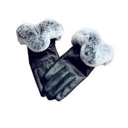 $enCountryForm.capitalKeyWord Australia - Glaforny 2018 New Genuine Sheepskin Fur Gloves with Rex Rabbit Trims Super Warm Real Fur Leather Gloves Women Girl Winter